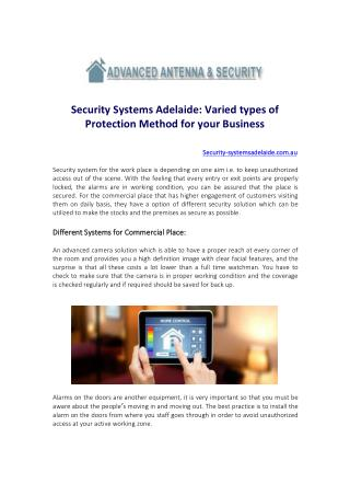 Security Systems Adelaide Varied types of Protection Method for your Business