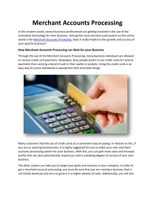 Merchant Accounts Processing