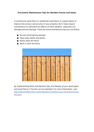 Preventive Maintenance Tips for Wooden Fences and Gates