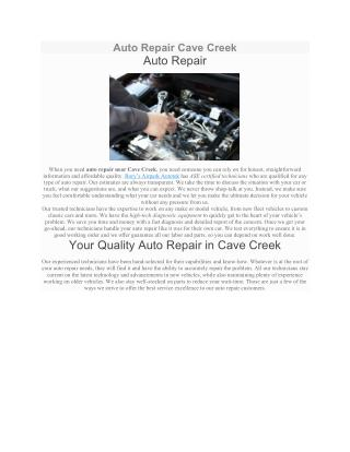 Auto Repair Cave Creek