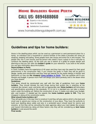 Home builders guide perth