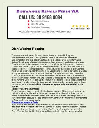 Dishwasher Repairs Perth WA