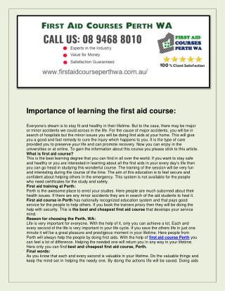 First aid courses perth wa