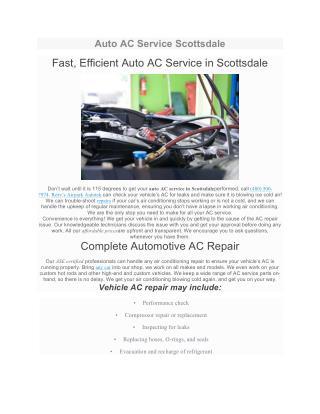Auto AC Service Scottsdale