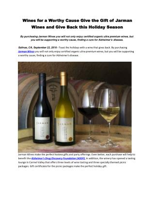 Wines for a Worthy Cause Give the Gift of Jarman Wines and Give Back this Holiday Season