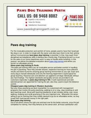 Paws dog training perth
