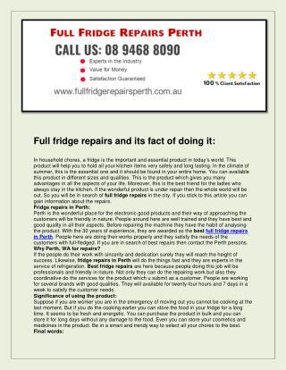 Full fridge repairs perth
