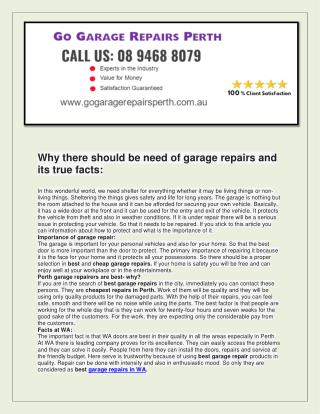 Go garage repairs perth