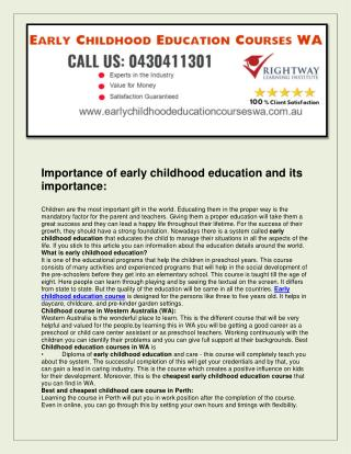 Early Childhood Education Courses WA