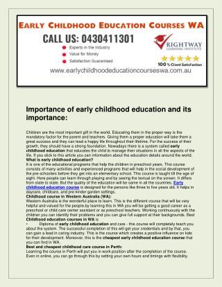 Early Childhood Education Courses WA