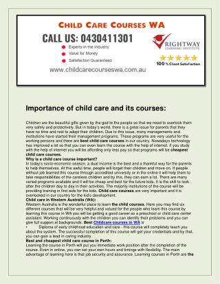 Child Care Courses WA