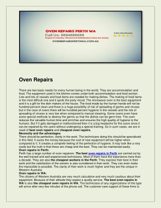 Oven Repairs Perth WA