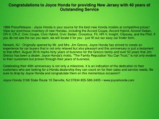 Congratulations to Joyce Honda for providing New Jersey with 40 years of Outstanding Service