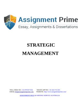 Assignment Prime - Strategic Management Sample