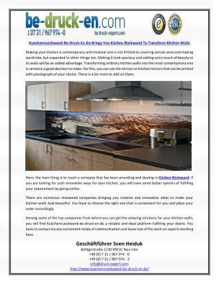 Kuechenrueckwand-Be-Druck-En.De Brings You Küchen Rückwand To Transform Kitchen Walls