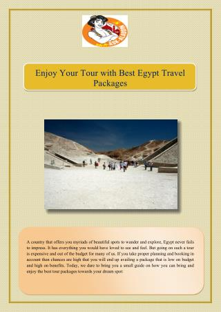 Enjoy Your Tour with Best Egypt Travel Packages