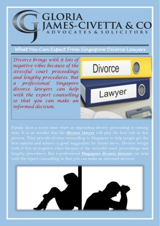 What You Can Expect From Singapore Divorce Lawyers