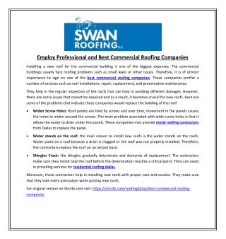 Employ Professional and Best Commercial Roofing Companies