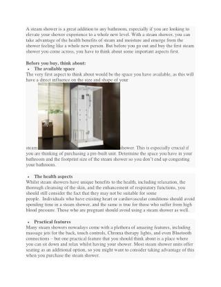 The Most Important Aspects You should Think about before Purchasing a Steam Shower