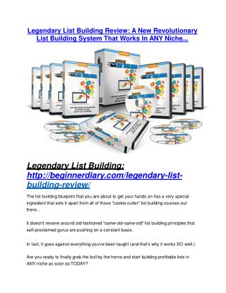 Legendary List Building Review and $30000 Bonus - Legendary List Building 80% DISCOUNT