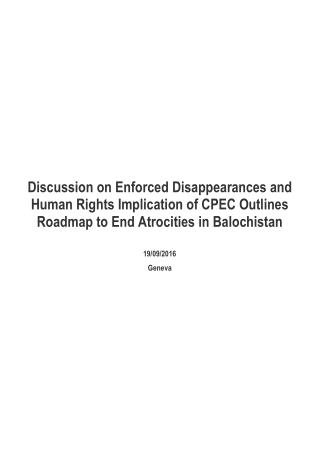 Discussion on Balochistan