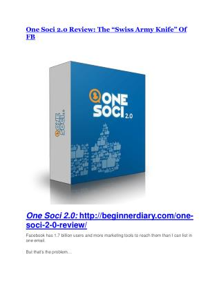 One Soci 2.0 review & massive  100 bonus items