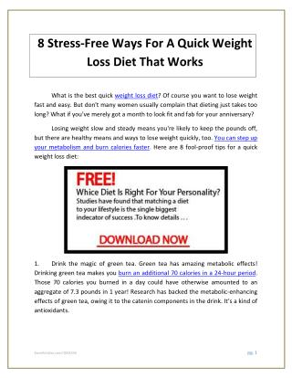 8 Stress-Free Ways For A Quick Weight Loss Diet That Works.pdf