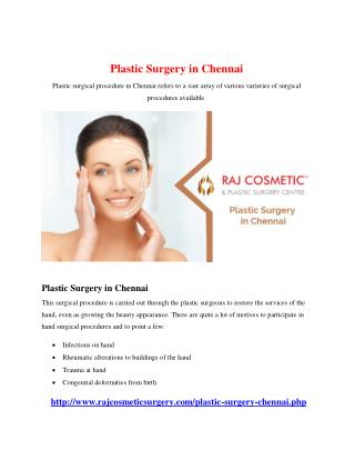 Plastic Surgery in Chennai