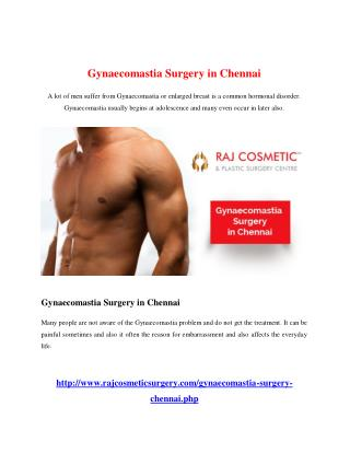 Gynaecomastia Surgery in Chennai