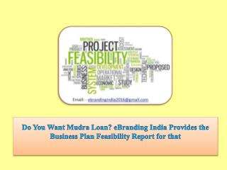 Do You Want Mudra Loan? eBranding India Provides the Business Plan Feasibility Report for that