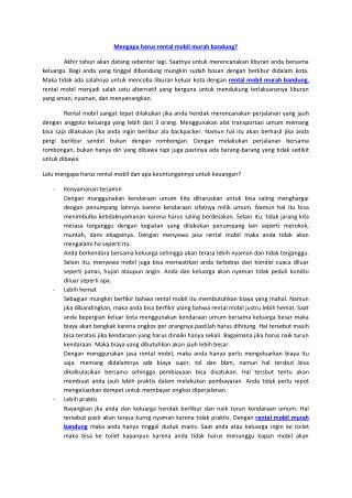 Rental Mobil Murah Bandung