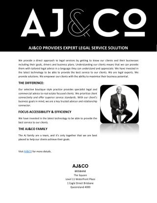 AJ&CO PROVIDES EXPERT LEGAL SERVICE SOLUTION