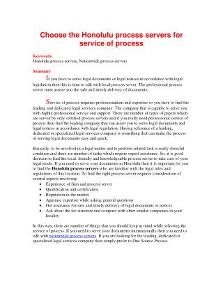 Choose the Honolulu process servers for service of process