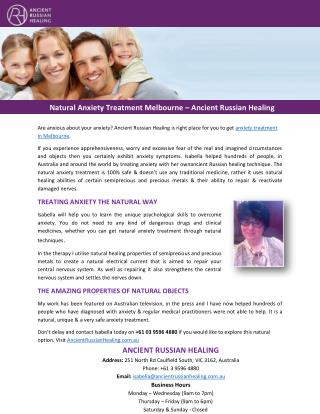 Natural Anxiety Treatment Melbourne – Ancient Russian Healing
