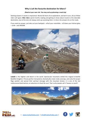 Why is Leh the favourite destination for bikers?