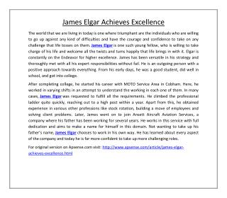 James Elgar Achieves Excellence
