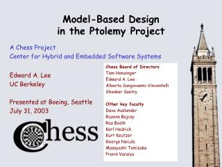 Model-Based Design in the Ptolemy Project