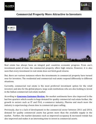 Commercial Property More Attractive to Investors
