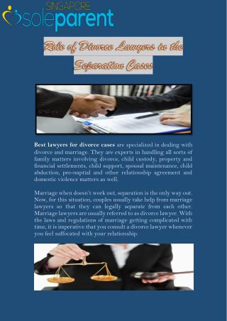 Role of Divorce Lawyers in the Separation Cases