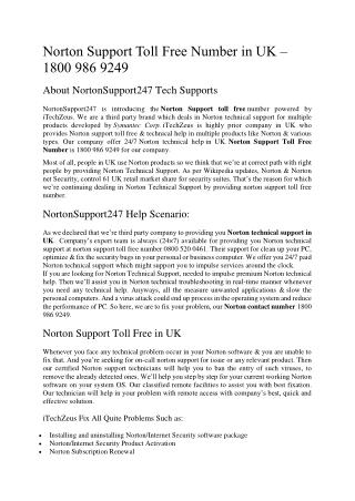 Norton Support Toll Free Number in UK