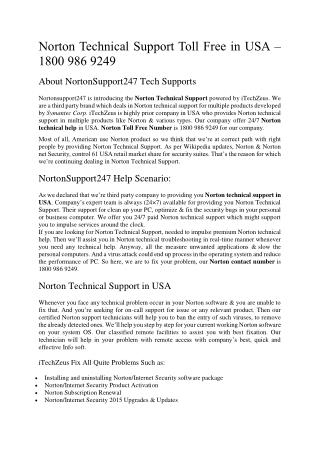 Norton Technical Support Toll Free in USA