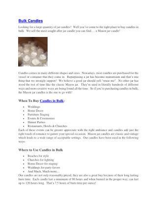 Bulk Candles - Candles in Bulk