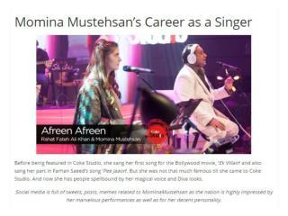 Momina Mustehsan's Career as a Singer