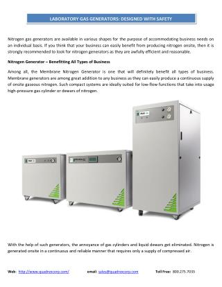 LABORATORY GAS GENERATORS DESIGNED WITH SAFETY