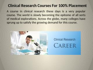 Clinical Research Courses For 100% Placement