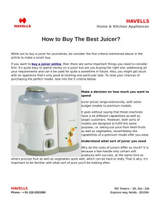 How to Buy The Best Juicer?