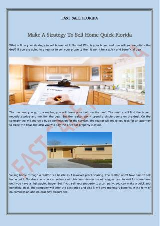 Make A Strategy To Sell Home Quick Florida