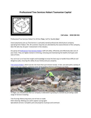 Professional Tree Services Hobart Tasmanian Capital