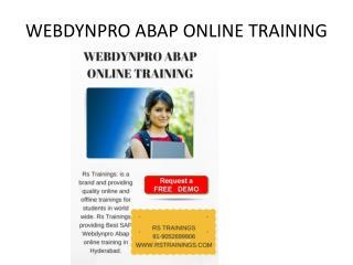 Webdynopro online training in Hyderabad