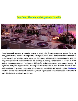 Top Event Planner and Organizers in India
